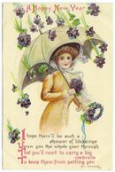 A Happy New Year By K L Wood Pretty Girl Umbrella Violets Embossed C1918 - New Year