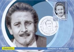 Italia 2018 Maximum Card FDC Domenico Modugno Cantante E Autore Di Canzoni Annullo Di Polignano A Mare - Musica