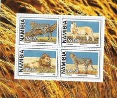 1997 Namibia Big Cats Lion Cheetah Panther Souvenir Sheet  Complete MNH - Namibia (1990- ...)