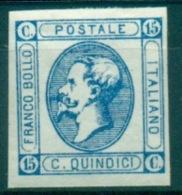 REGNO 1863 V.EMANUELE II 15 C. AZZURRO LITOGRAFICO MNH** LUSSO - 1861-78 Victor Emmanuel II