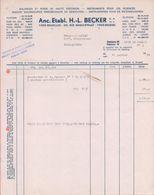 1974: Facture D' ## Anc. Etabl.H.-L. BECKER S.A./N.V., Rue Masuistraat, 220, BR. ##  à ## Mr. LANDAU, Schupstraat, ... - Transport