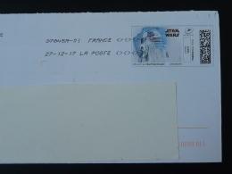 Cinema Star Wars Timbre En Ligne Sur Lettre (e-stamp On Cover) TPP 3847 - Kino