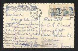 Canada 1972 Slogan Postmark Postal Stationery Used Picture Postcard With Stamps To Pakistan - Postal History