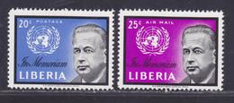 LIBERIA N°  379, AERIENS N° 129 ** MNH Neufs Sans Charnière, TB (D6107) à La Mémoire De Dag Hammarskjold - Liberia