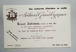 Buvard Archives Généalogiques Andriveau 18, Rue Du Cherche-Midi Paris - Buvards, Protège-cahiers Illustrés