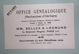 Buvard OFFICE GENEALOGIQUE ( Recherche D'Heritiers)  BELLER & LHOMOND  PARIS - Blotters
