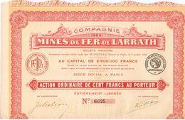 Ancienne Action - Compagnie Des Mines De Fer De Larrath - Algérie - Titre De 1908 - Afrique