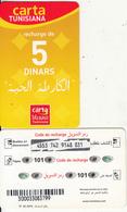 TUNISIA - Tunisiana Recharge Card 5 Dinars, Used - Tunisia