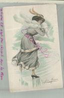 CP Illustration De Mode Femme Au  Chapeau Signée Jan Marcoz   M 2018 1129 - Andere Illustrators