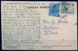 "1937 , CÁCERES , PLASENCIA A BILBAO , CENSURA MILITAR , RARA TARJETA POSTAL "" LAS TRES GRACIAS EN EL FRENTE "" - 1931-50 Lettres"