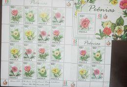 L) 2011 ANGOLA, FLOWERS, NATURE, PINK, PEONIES, YELLOW, FLORA, 100 ZT, SOUVENIR SHEET, XF - Angola