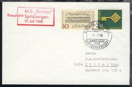 DEUTSCHE SCHIFFSPOST SPITZBERGENFAHRT MS EUROPA NORDDEUTSCHER LLOYD 17.7.68 - Non Classés