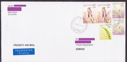 SLOVENIA FLOWER AIR MAIL COVER TO ARTSAKH NAGORNO KARABAKH ARMENIA CRIMEA - Slovenia