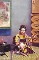 Japon: Japanese At Home, Playing The Samisen (Geisha) - Raphael Tuck & Sons, Carte Oilette Non Circulée - Asie