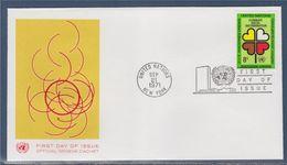 = Année Internationale Contre La Discrimination Raciale Enveloppe 1er Jour New-York 21.9.71 N°213 Cœurs Formant Fleur - FDC