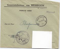 Omslag Enveloppe - Gemeente Ressegem - Stempel Herzele 1957 - Ganzsachen