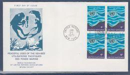 = Utilisations Pacifiques Des Fonds Marins Enveloppe 1er Jour New-York 25.1.71 N°28 X4 Fonds Marins - FDC