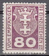 DANZIG   SCOTT NO. J6    MINT HINGED     YEAR 1921 - Danzig