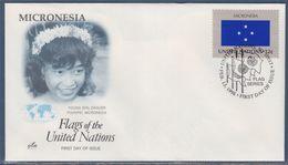 = Micronésie Série Drapeaux Des Etats Membres De L'organisation Nations Unies Enveloppe 1e Jour New-York 13.2.98 N°743 - FDC