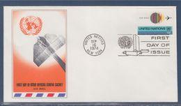= Globe Et Avion Enveloppe 1er Jour New-York 16.9.74 N°PA19 Série Courante - FDC