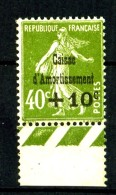 253 - +10c Sur 40c Semeuse Vert - Bord De Feuille - Neuf N** - Très Beau - Sinking Fund