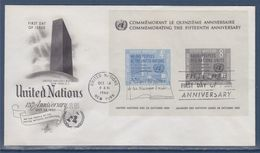 = 15è Anniversaire De L'Organisation Des Nations Unies Enveloppe 1er Jour New-York 24.10.60 BF2 (80 81) Charte & Siège - FDC