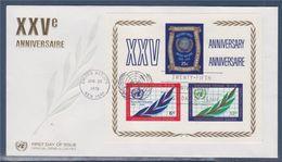 = 25è Anniversaire De L'Organisation Des Nations Unies Enveloppe 1er Jour New-York 26.6.70 BF5 (203 204 205) - FDC