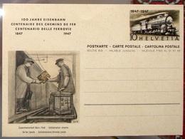 Schweiz Suisse 1947: Bild-PK/entier 100 Jahre Eisenbahn (Bahn>Post) Centenaire Chemin De Fer (rail>poste) - Poste