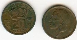 Belgique Belgium 20 Centimes 1959 Français KM 146 - 01. 20 Centimes