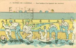 CPA HUMORISTIQUE- SCENES DE CASERNE -AUX LAVABOS - Humoristiques