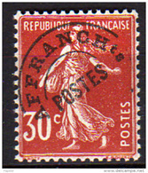 France  Préoblitéré N° 61 XX  Type Semeuse Fond Plein : 30 C. Rouge Sombre  Sans Charnière, TB - Préoblitérés