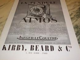 ANCIENNE PUBLICITE ATMOS PENDULE PERPETUELLE KIRBY.BEARD 1939 - Jewels & Clocks