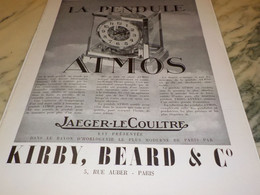 ANCIENNE PUBLICITE ATMOS PENDULE PERPETUELLE KIRBY.BEARD 1939 - Bijoux & Horlogerie