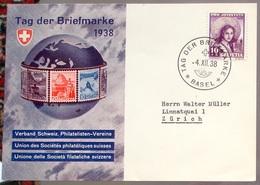 Schweiz Suisse 1938: Tag Der Briefmarke -  Mit O BASEL 4.XII.38 TAG DER BRIEFMARKE (Zu CHF 30.00) - Tag Der Briefmarke