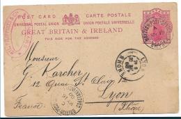 Bd072c / LEVANT -  Britische Ganzsache In Smyrna 1900 Verwendet Nach Lyon - British Levant
