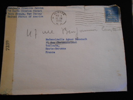 Enveloppe 1945 From USA New Jersey -- Examined By 7239 Censure    Lettre  CL18 - Marcophilie (Lettres)
