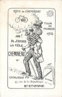 CARTE PUBLICITAIRE DES VELOS CHEMINEAU TOUR DE FRANCE 1913 PAR ILLUSTRATEUR  CYCLES CHEMINEAU SAINT ETIENNE - Cyclisme