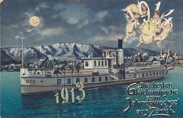 Glückwünsche Zum Jahreswechsel 1913-1914 Aus Zürich - Schiff - 1914       (P-122-70701) - New Year