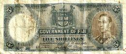 FIJI 5 SHILLINGS BLUE KGVI FRONT MOTIF BACK DATED 01-07-1943 F+ P.37c READ DESCRIPTION!! - Fidji