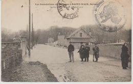Val De Marne Les Inondations De La Marne SAINT MAUR La Rue Norbert 1910 (Cachet De La Mairie De Villeneuve St Georges) - Saint Maur Des Fosses