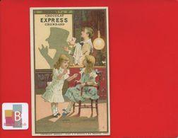 Chocolat Express Grondard Paris Jolie Chromo Magie Ombres Chinoise Croquemitaine Cartes Jouer Jeu Lampe Lith Minot - Autres