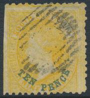 AUSTRALIA / SA - 1868 TEN PENCE Blue Overprint On 9d Yellow QV, Used - SG # 78 - 1855-1912 South Australia