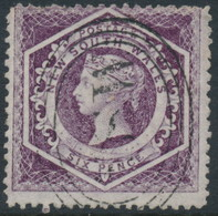 AUSTRALIA / NSW - 1866 6d Purple Diadem, Perf. 13 With '12' Watermark, Used – SG # 165b - Used Stamps