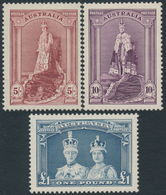 AUSTRALIA - 1938 5/- To £1 Robes Set Of 3 On Thick Paper, Mint Hinged – SG # 176-178 - Mint Stamps