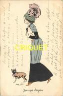 Illustrateur Xavier Sager, Champs Elysées, Jeune Femme Avec 2 Chiens, Carte Pas Courante Affranchie 1910 - Sager, Xavier