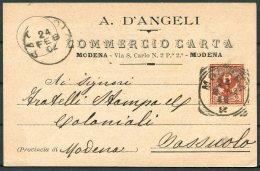 1902 Italy Commercio Carta A. D'Angeli, Modena - Sassuolo. Advertising Postcard - 1900-44 Vittorio Emanuele III