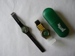 Lot De 2 Montres Bracelet Publicitaires PERRIER, Dont Une Dans Son étui D'origine : TB - Advertisement Watches