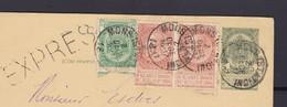 Carte En Expres De Mons Station Vers BXl ( Arrivée Bureau Télégraphique De Bxl Midi ) - 1893-1900 Fine Barbe