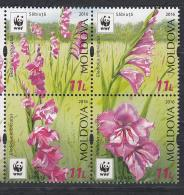 Moldova Moldawien 2016 MNH ** Mi. Nr. 958-961 Zd Moldova WWF Flower Set - Moldawien (Moldau)