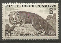 St Pierre & Miquelon - 1952 Silver Fox 8f MNH **  Sc 343 - Unused Stamps